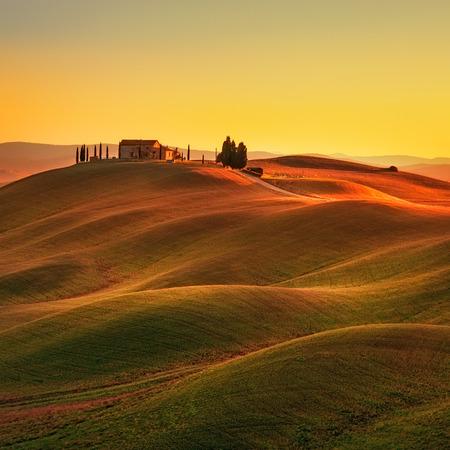 paisaje de campo: Toscana paisaje rural en la tierra Crete Senesi. Colinas campo cipreses de la granja de árboles de campo verde en puesta del sol caliente. Siena Italia Europa. Foto de archivo
