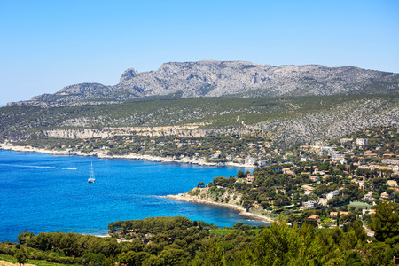 azur: Cassis bay and sea in French Riviera. Cote Azur, Provence, France, Europe.