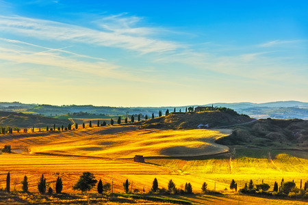 トスカーナ、田園風景。田園地帯の農場、糸杉の木と緑のフィールド。イタリア、ヨーロッパ。