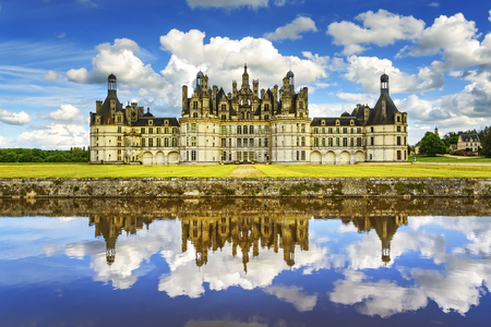 europe: Chateau de Chambord, royal medieval french castle and reflection. Loire Valley, France, Europe. Unesco heritage site.