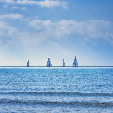 セーリング ボート ヨットや帆船グループ レガッタ レース海や海の水の上。パノラマの景色。 写真素材
