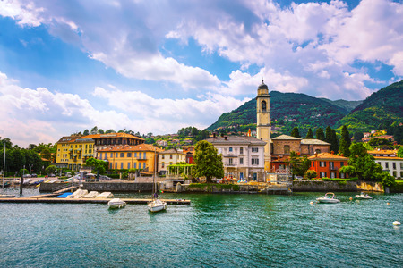 Cernobbio town in Como lake district. Italian traditional lake village. Italy, Europe. Standard-Bild