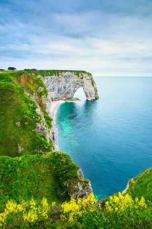 view on sea: Etretat, la Manneporte natural rock arch wonder, yellow flowers, cliff and beach. Normandy, France. Stock Photo