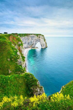 cielo y mar: Etretat, la Manneporte roca natural del arco es de extra�ar, flores amarillas, acantilado y la playa. Normand�a, Francia. Foto de archivo