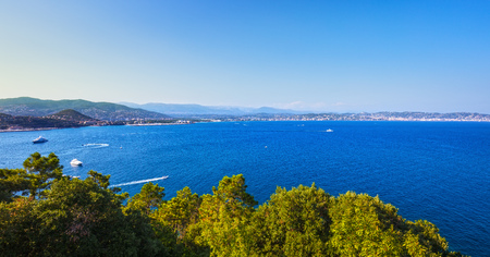 view on sea: Cannes and La Napoule panoramic sea bay view, yachts and boats from Theoule sur Mer. French Riviera, Azure Coast or Cote d Azur, Provence, France
