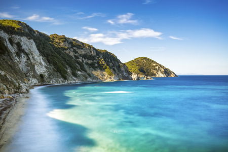 seascape: Elba island, Portoferraio Sansone white beach coast. Tuscany, Italy, Europe. Long Exposure. Stock Photo