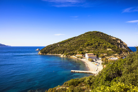 headland: Elba island sea, Portoferraio Enfola headland beach and coast. Tuscany, Italy, Europe Stock Photo