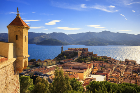 Elba island, Portoferraio aerial view from fort. Lighthouse and fort. Tuscany, Italy, Europe. Foto de archivo