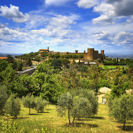 val d      orcia: Tuscany, Montalcino italian medieval village, fortress and church view. Brunello wine town.Siena, Val d Orcia, Italy. Stock Photo