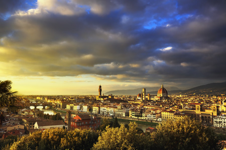 michelangelo: Florence or Firenze sunset aerial cityscape. Panorama view from Michelangelo park square. Ponte Vecchio bridge, Palazzo Vecchio and Duomo Cathedral. Tuscany, Italy Stock Photo