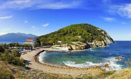 headland: Elba island sea, Portoferraio Enfola headland beach and coast. Tuscany, Italy, Europe Stock Photo