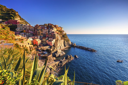crepuscle: Manarola village on cliff rocks and sea at sunset., Seascape in Five lands, Cinque Terre National Park, Liguria Italy Europe. Stock Photo