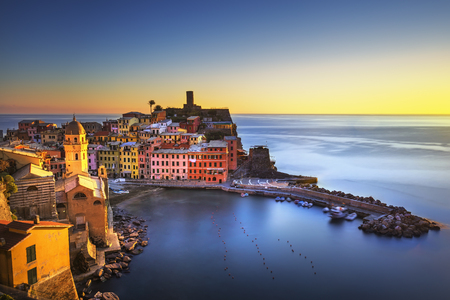 Vernazza village, aerial view on red sunset, Seascape in Five lands, Cinque Terre National Park, Liguria Italy Europe. Long Exposure. Stock Photo