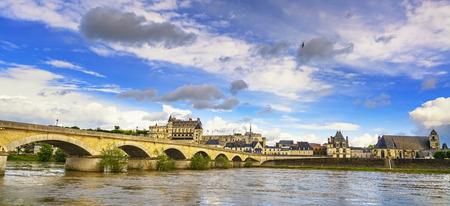real renaissance: Amboise medieval castle or chateau and bridge on Loire river. France, Europe. Unesco site.