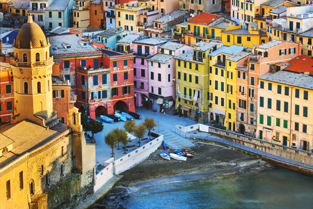 cinque: Vernazza village, church and buildings aerial view. Seascape in Five lands, Cinque Terre National Park, Liguria Italy Europe. Long Exposure. Stock Photo