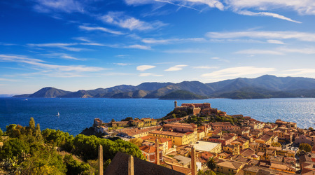 archipelago: Elba island, Portoferraio aerial view. Lighthouse and fort. Tuscany, Italy, Europe. Stock Photo