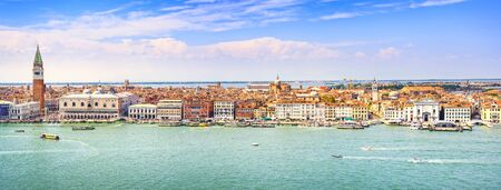 venice: Venice panoramic landmark, aerial view of Piazza San Marco or st Mark square, Campanile and Ducale or Doge Palace. Italy, Europe. Stock Photo