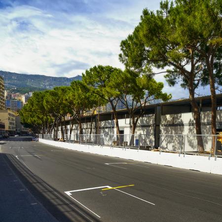 montecarlo: Starting grid asphalt on Monaco Montecarlo race Grand Prix street circuit