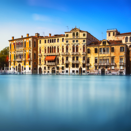 Venice cityscape in Campo San Vio, traditional buildings on water in grand canal. Italy, Europe. Long Exposure.