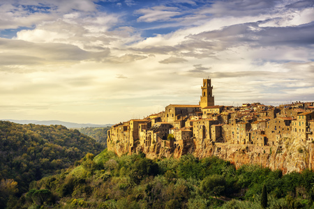 italy landscape: Tuscany, Pitigliano medieval village on tuff rocky hill. Panorama landscape high resolution photography. Italy, Europe.