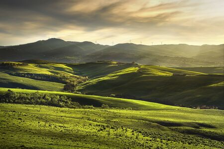 farmlands: Tuscany spring, rolling hills on sunset. Rural landscape. Green fields and farmlands. Volterra Italy, Europe