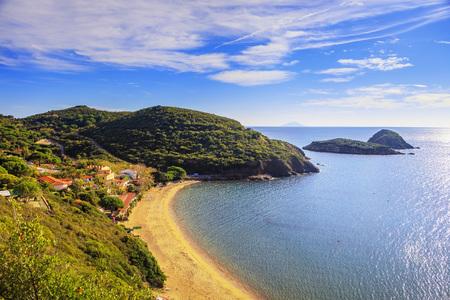 inlet bay: Elba island, Innamorata beach and Gemini islets view Capoliveri Tuscany, Italy, Europe.