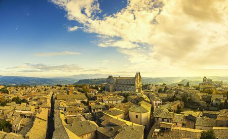 orvieto: Orvieto medieval town and Duomo cathedral church landmark panoramic aerial view. Umbria, Italy, Europe.
