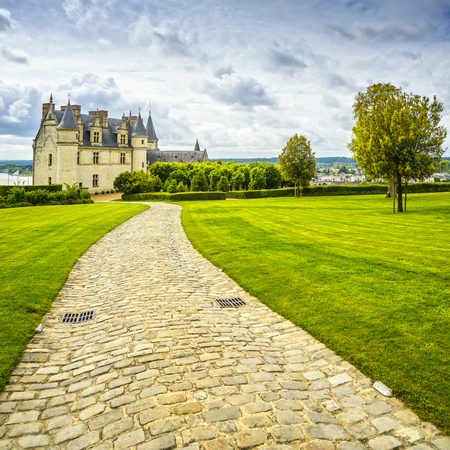 Chateau de Amboise medieval castle, Leonardo Da Vinci tomb. Garden and foothpath. Loire Valley, France, Europe.