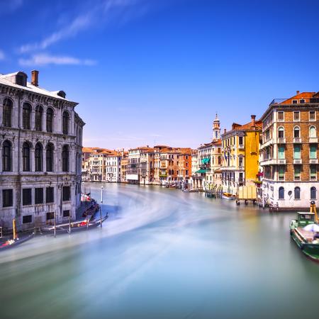 rialto: Venice grand canal or Canal Grande, view from Rialto bridge. Italy, Europe.