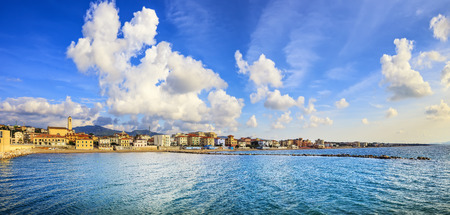 quiet: San Vincenzo beach and seafront panoramic view. Sea travel destination, Tuscany, Italy. Stock Photo