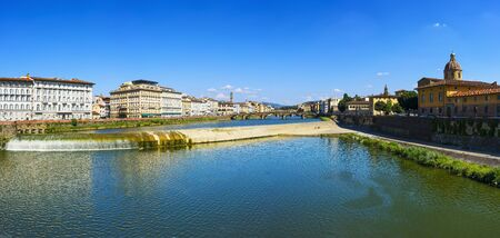 firenze: Florence or Firenze panoramic view of Arno river and Carraia medieval bridge. Tuscany Italy, Europe