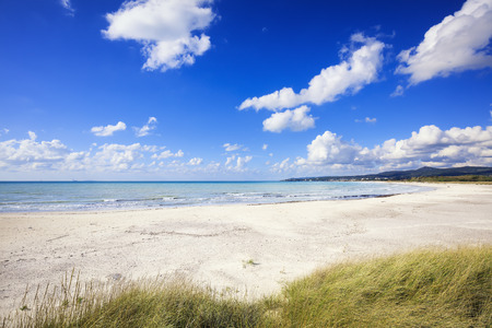 Rosignano Solvay Vada Castiglioncello, white sand beach and coast. Tuscany, Italy Banco de Imagens