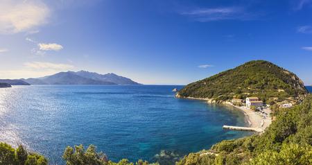 livorno: Elba island sea, Portoferraio Enfola headland beach and Capanne mount. Livorno Tuscany, Italy, Europe