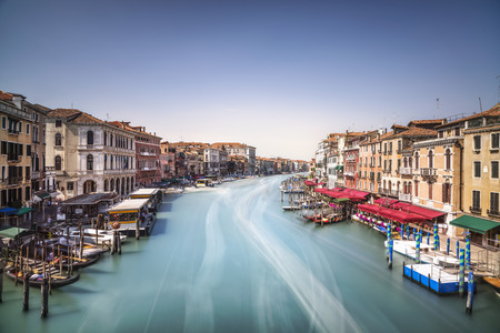 rialto: Venice grand canal or Canal Grande, view from Rialto bridge. Italy, Europe