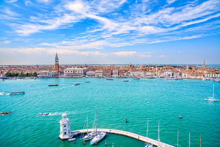 Venice panoramic landmark, aerial view of Piazza San Marco or st Mark square, Campanile and Ducale or Doge Palace. Italy, Europe. Stock Photo