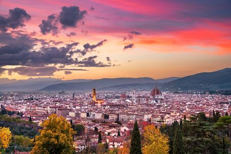 firenze: Florence or Firenze sunset aerial cityscape. Palazzo Vecchio and Duomo Cathedral. Tuscany, Italy