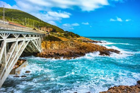 Sea storm on the coast and Calafuria bridge, via Aurelia road. Livorno Tuscany Italy Europe