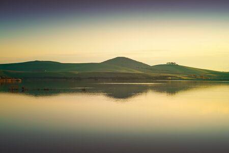 refelction: Tuscany, Santa Luce lake panorama on sunset, Pisa, Italy Europe