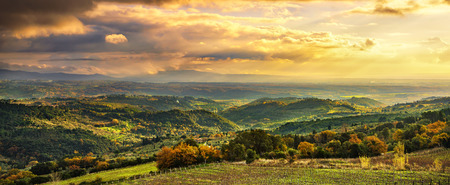 livorno: Maremma sunset panorama. Countryside, hills and sea on horizon. Val di Cecina Livorno coast, Tuscany, Italy Europe