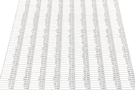 stock listing: Business data report selective focus close up. Monthly stock stats spreadsheet. Blue toned.