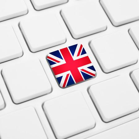 Langue anglaise ou concept web britannique. Bouton drapeau du Royaume-Uni ou touche clavier blanc Banque d'images