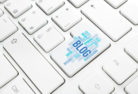 Seo business, search engine optimization, concept cloud in enter button or key on white keyboard