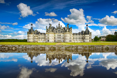 Chateau de Chambord, royal medieval french castle and reflection. Loire Valley, France, Europe. Unesco heritage site.