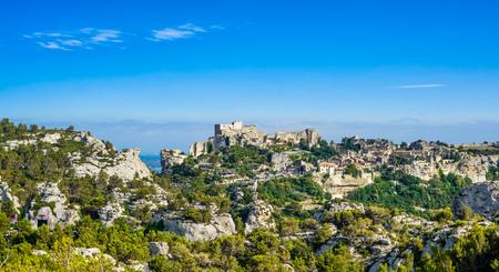 Les Baux de Provence village panoramic view. Provence Alpes Cote Azur, France, Europe. Stock Photo
