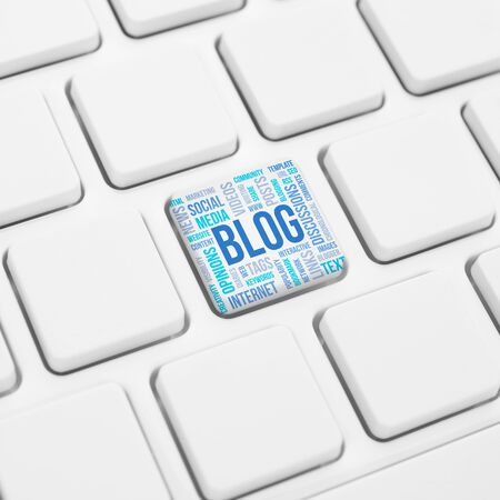 blogosphere: Blog word concept cloud in button or key on white keyboard Stock Photo