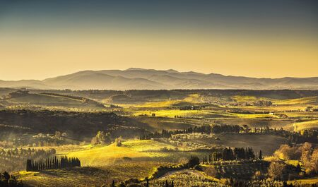 Maremma, rural sunrise landscape. Countryside farm and green fields. Tuscany, Italy, Europe.