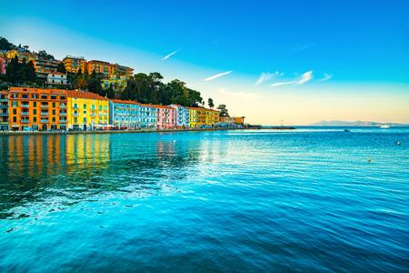 Porto Santo Stefano seafront, italian travel destination. Monte Argentario, Tuscany, Italy. Long exposure. Stock Photo