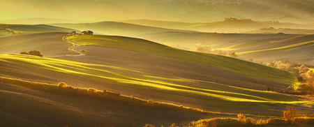 Maremma, rural panoramic sunset landscape. Meadows and green fields. Tuscany, Italy, Europe. Stock Photo