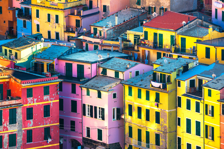 Vernazza village, buildings aerial view. Seascape in Five lands, Cinque Terre National Park, Liguria Italy Europe. Stock Photo