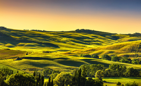 Tuscany countryside landscape panorama, rolling hills, fields, meadow and trees at sunset. Italy, Europe